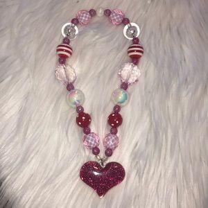 Little girls pink heart necklace